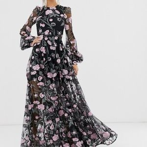 ASOS embroidered pink floral gown w/ open back